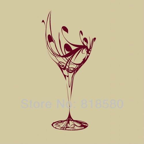 Free Shipping Home Decor Wine Glass Kitchen Vinyl Wall Art Stickers ...