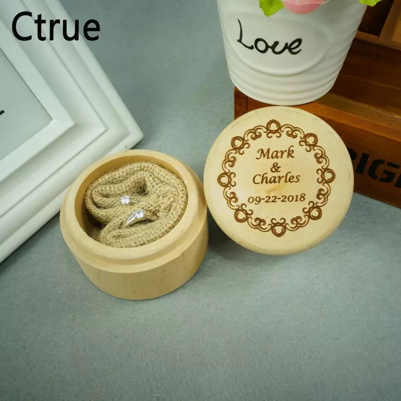 Customized Your Names and Date Engrave Wood Wedding Ring Box with Flora Garland Personalized Gift Rustic Bearer