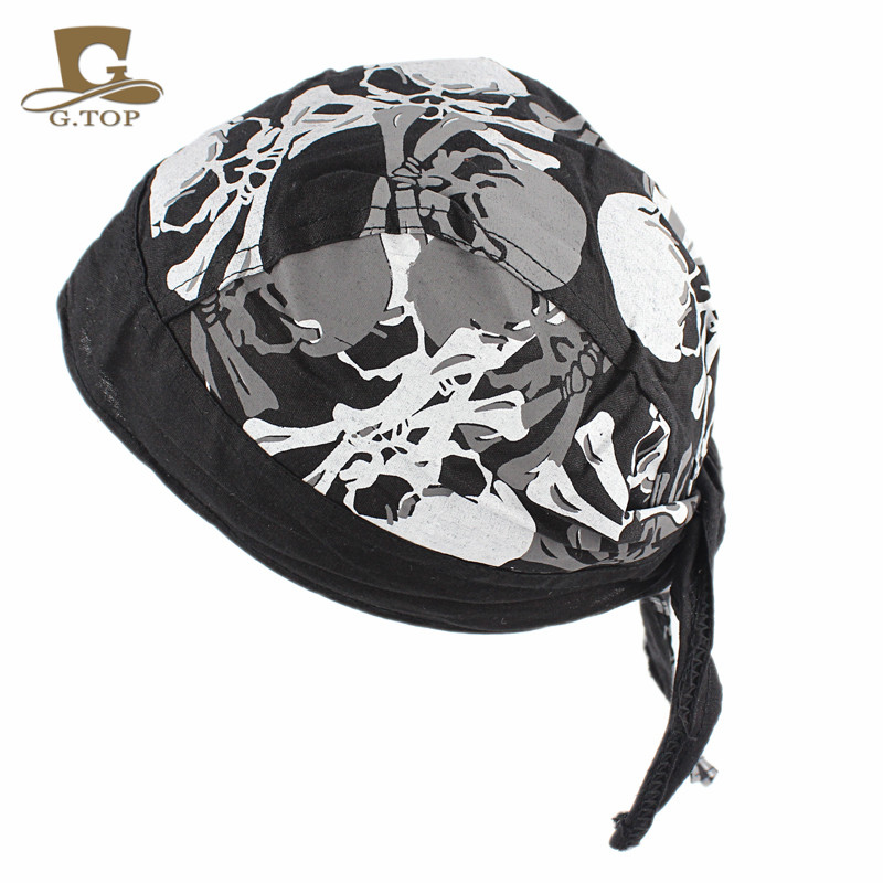 Solid Do Black Cap New Head Wrap Du Rag Biker Doo Hat Skull Hat Bandana