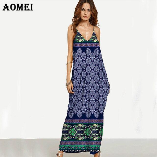 dbe89ad43e94 Women Dress Sleeveless Spaghetti Strap Sexy Bohemian Fashion Beach Dress V  Neck Casual Print Color Summer