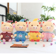 Creative new clown pig plush toy hooded pig doll cute little doll color pig plush pillow for baby gifts baby pig pig walks
