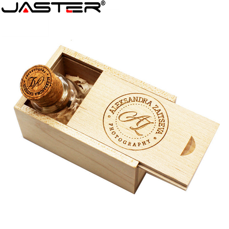 4gb 8gb 16gb 32gb Special Gift For Lovers Easy To Lubricate transparent Jaster Logo Customer Glass Drift Bottle With Cork Usb Flash Drive