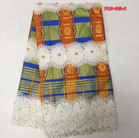 130 см * 5 метров/шт белый шнур кружева и Orange Африканский Воск сочетание с бусинами для шитья африканских праздничное платье Apr 4 2018