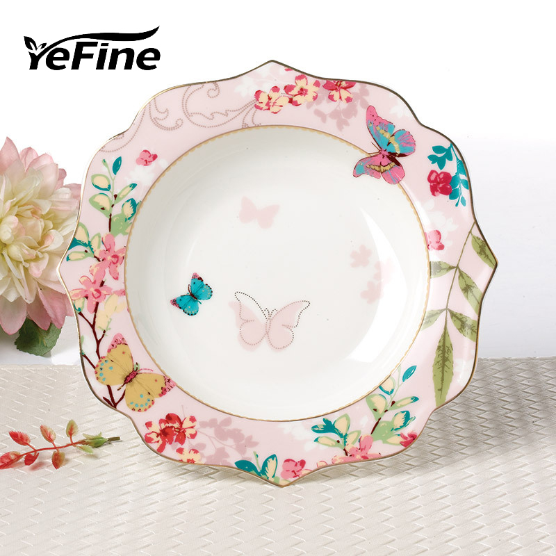 YeFine Ceramic Soup Plate Porcelain Tableware Platter Steak Fruit Dish Dinner Plates Flat Dish Bone China Dinnerware <font><b>Set</b></font>