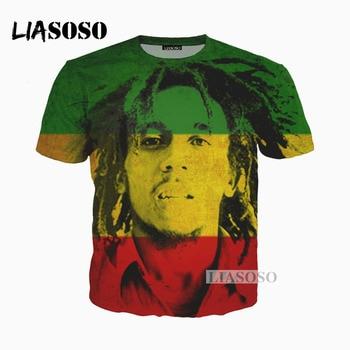 LIASOSO New 3D Print Reggae Singer BOB Marley Women Men Tshirt Summer T-shirt Hip Hop Pullover Harajuku Short Sleeve X0202