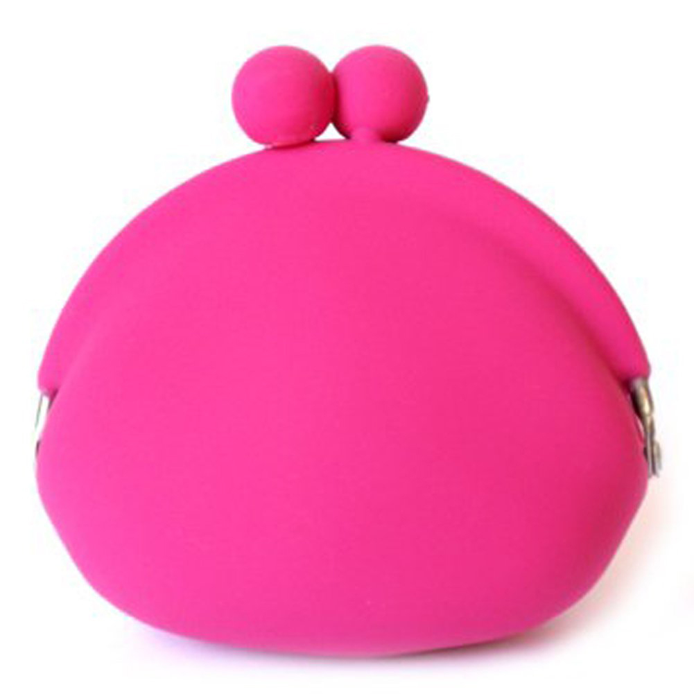 ASDS Sweet Silicone Coin Purse Wallet Pouch Case Clutch Key Wallet Change Card Bag with metal buckle fuzzy metal clutch wallet