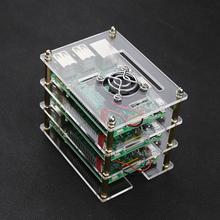 3 Layer  Raspberry Pi 3 Acrylic Case Clear Box Cover  for Raspberry Pi 3 / 2 Model B New Design Style