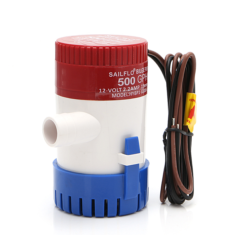 Bilge Pump 500GPH 12V Non-automatic Marine Electric Submersible Bilge Pump