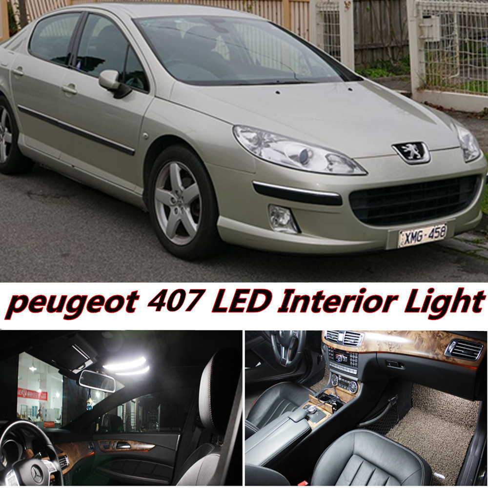 7pcs free shipping Error Free Auto LED Bulbs Car Interior Light Kit T10 Reading Truck Lamp For Peugeot 407 accessories 2004-2010 2pcs 12v 31mm 36mm 39mm 41mm canbus led auto festoon light error free interior doom lamp car styling for volvo bmw audi benz