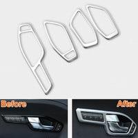 4pcs/set ABS Car Interior Door Side Handle Bowl Cover Trim Frame Decoration Fits For Land Rover 2015 Range Rover Evoque