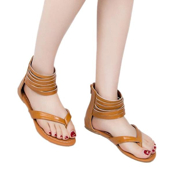 ad7e8c076532d 2018 women sandals summer shoes solid Zipper Rome Strappy Gladiator Low  Flat Flip Flops Beach Sandals Shoes 5.27