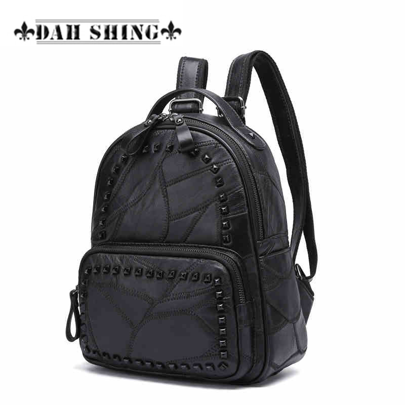 Fashion color Black Genuine sheep skin leather patchwork Rivet studded women backpack shoulder bag feminas mochilas 2 sizes women backpack fashion pvc faux leather turtle backpack leather bag women traveling antitheft backpack black white free shipping