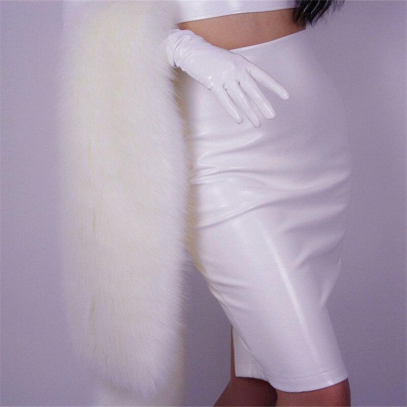 Cuir verni demi-jupe longue fermeture éclair en cuir jupes haute fente jupe crayon taille haute élastique 3 couleurs en option VG09