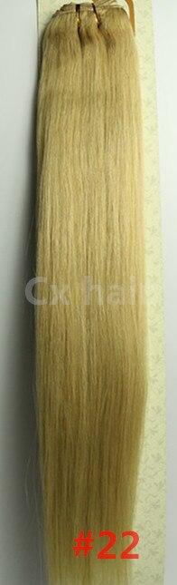 #22 medium blonde 161820222426283032 silk soft remy brazilian human hair extensions human hair weft weaving 100g/pcs