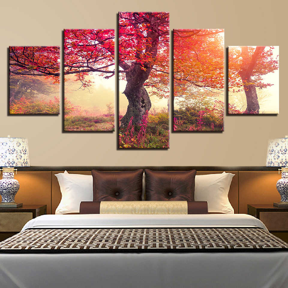 Art Home Decoration Modular Picture Wall 5 Panel Tree Landscape Living Room HD Printed Modern Painting On Canvas Posters Frame