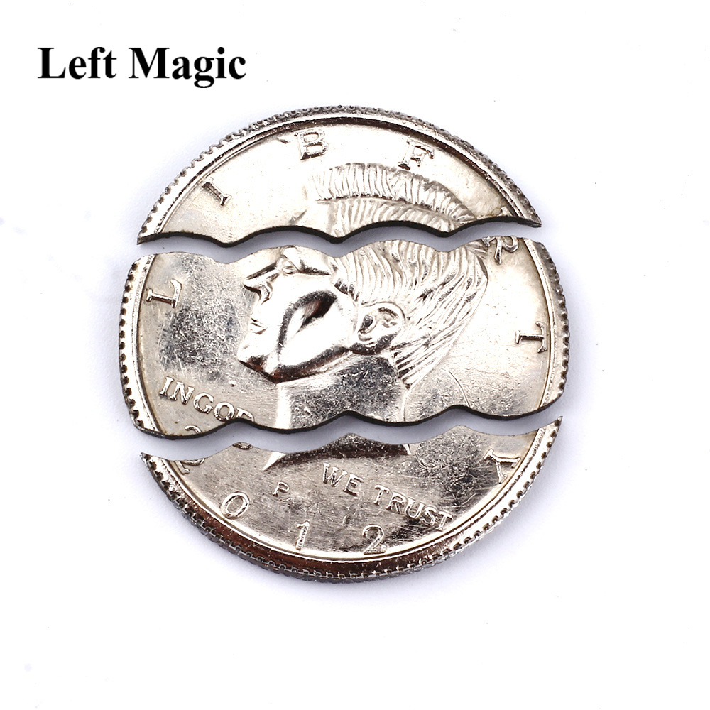 Two / Three Folding Bite Coin Half Dollar Magic Tricks  Bite Coin Magic Pocket Bite Out Restore Coin Close Up Magic Props