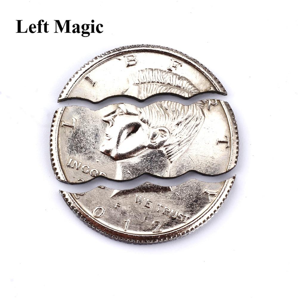 Two / Three Folding Bite Coin Half Dollar Magic Tricks Bite Coin Magic Pocket Bite Out Restore Coin Close Up Magic Props j b bobo modern coin magic
