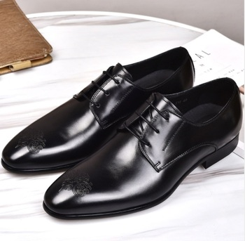 Men Bullock carved Business Shoes Genuine Leather Dress Shoes Square Toe  formal Oxfords Men Office Wedding Shoes