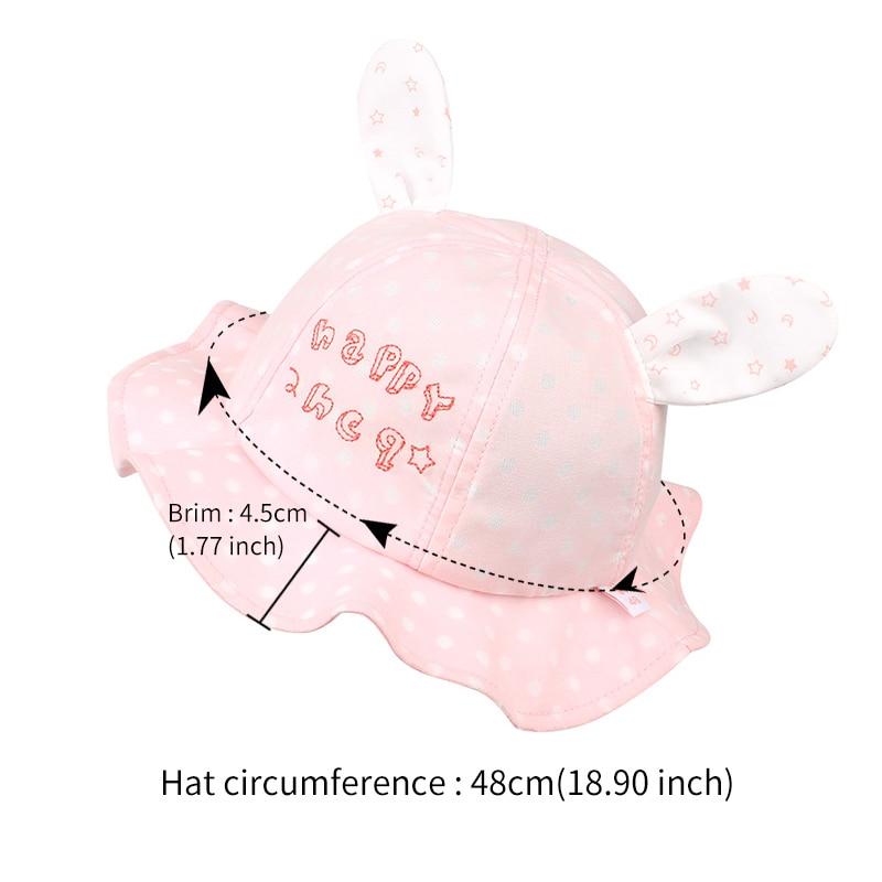 cde8a9f8c49 Polka Panama Baby Hat For Girls Cute Rabbit Ears Girls Cap Summer Beach Sun  Hat Dots