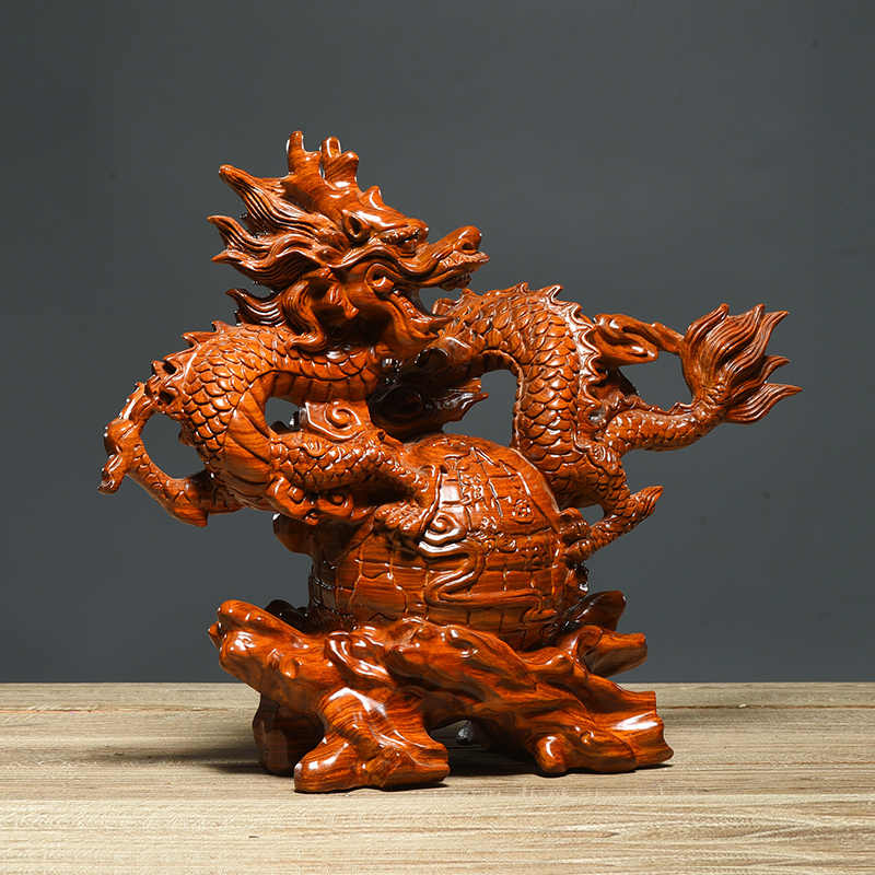 Wooden feng shui vintage home decor dragon statue desk decoration maison living room accessories esculturas sculpture new heykel