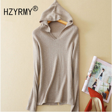 HZYRMY 2018 Spring Autumn New Womens Cashmere Sweater Fashion V-Neck High Quality Hooded Shirt Pure color Short Wool Pullovers