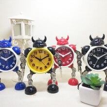 Студенческий красивый Творческий мультяшный металлический робот-будильник отправить детский подарок на день рождения Повтор светящийся будильник синхронизации A10996