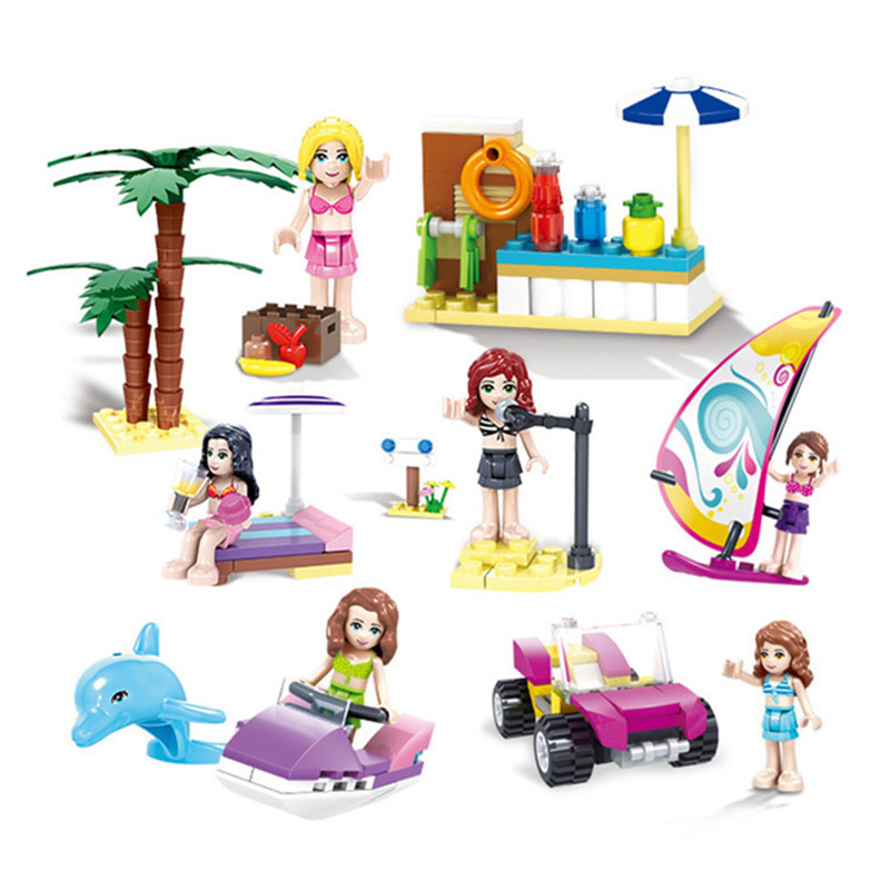 Beach Toys For Girls : City beach girls building toy blocks friends figures