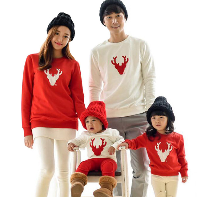 2016 Christmas Family Look Deer Mommy and Me Clothes Matching Family  Clothing Sets Mother Daughter Father Baby T-shirt - 2016 Christmas Family Look Deer Mommy And Me Clothes Matching Family