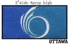 "Ottawa, Ontario Canada Flag 3""wide embroidery patch for Swirl/light blue/ocean(China)"