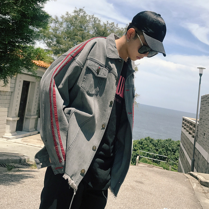 Spring Man Weave Bring Flash Cowboy Jacket Loose Coat letter casual personality city boy exquisite Favourite Fashion Recommend
