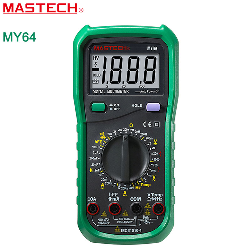 MASTECH MY64 Digital Multimeter AC/DC  DMM Frequency Capacitance Temperature Meter Tester w/ hFE Test Ammeter Multimetro holdpeak hp 90epc multimetro digital usb multimeter dmm auto range tester lcd ammeter capacitance meter pc data transmission