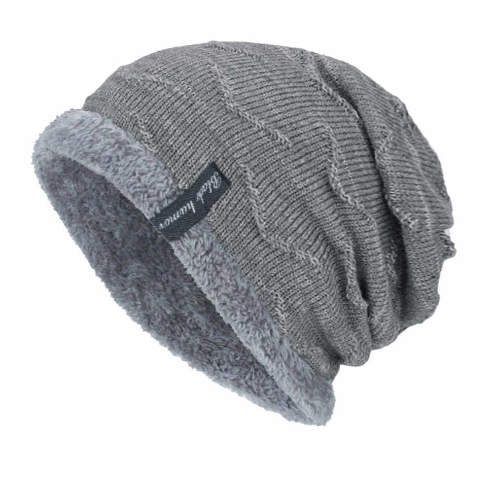 655811d21b2 ... Boys Men Winter Hat Knit Scarf Cap Warm Fur Skullies Beanie Bonnet Hat  Fleece dad cap ...