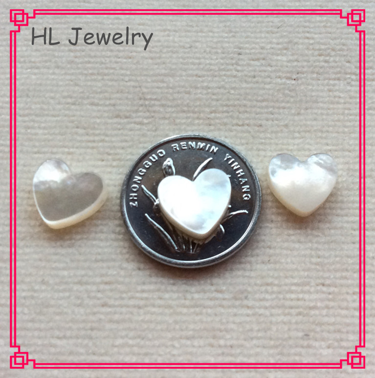 100PCS Lot 10MM white Heart Shape Shell Beads For DIY Jewelry Heart Shell Beads with side