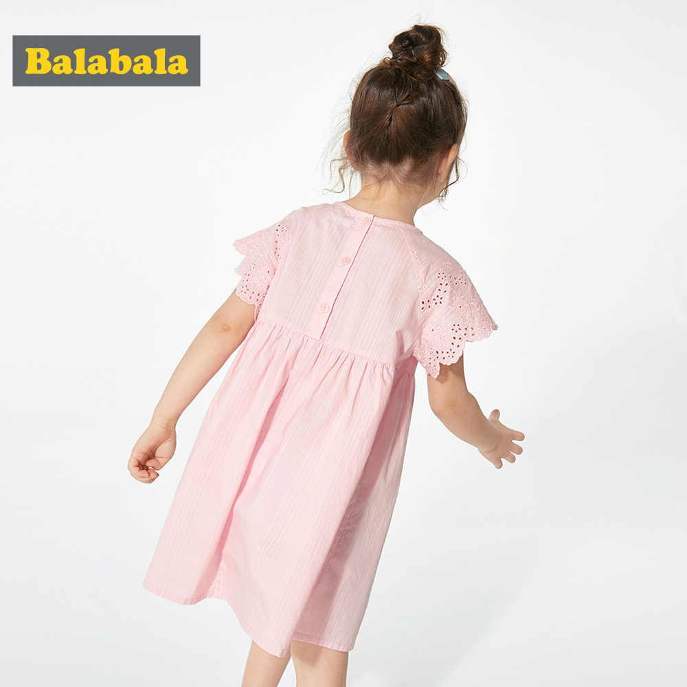 BalabalaChildren elbise çocuklar kız kısa kollu çiçek baskı pamuk keten çiçek elbise bebek kız yaz elbiseler kızlar için