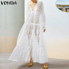 Long Sleeve Dress 2019 Summer VONDA Sexy Black Lace Hollow Out Dresses Casual Loose Vintage Plus Size Beach Party Vestidos 5XL sexy hollow out sleeve party dress women party plus size 3xl dresses black lace mesh loose vestido femme vestidos de verano d30
