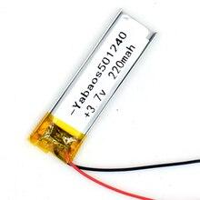 3,7 V 220 mAh Li-Polymer Перезаряжаемые Батарея 501240 Li-Po ионов для gps Bluetooth MP3 MP4 051240