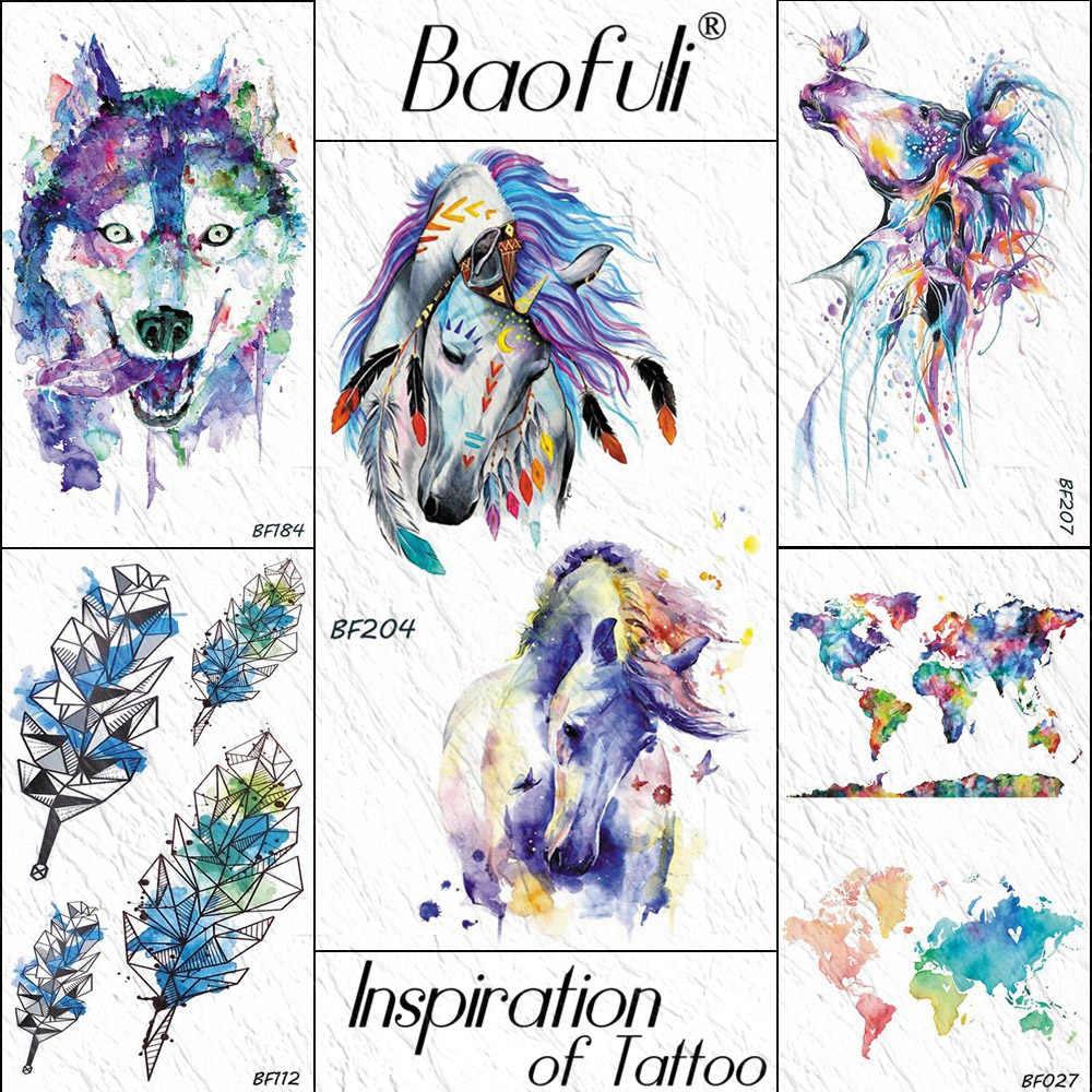 2a5919143a090 Baofuli Watercolor Unicorn Tribal Butterfly Temporary Tattoo Sticker Body  Art Arm Fake Tattoos Animal Women Men