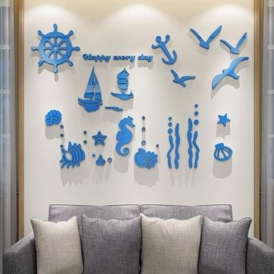 New arrival Ocean acrylic 3d wall stickers Child room stereoscopic decoration Cartoon Sailing A hippocampus Home art decor