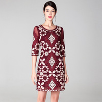 Spring and summer new women's dress big name and high end retro and elegant mesh embroidery sequin dress c62