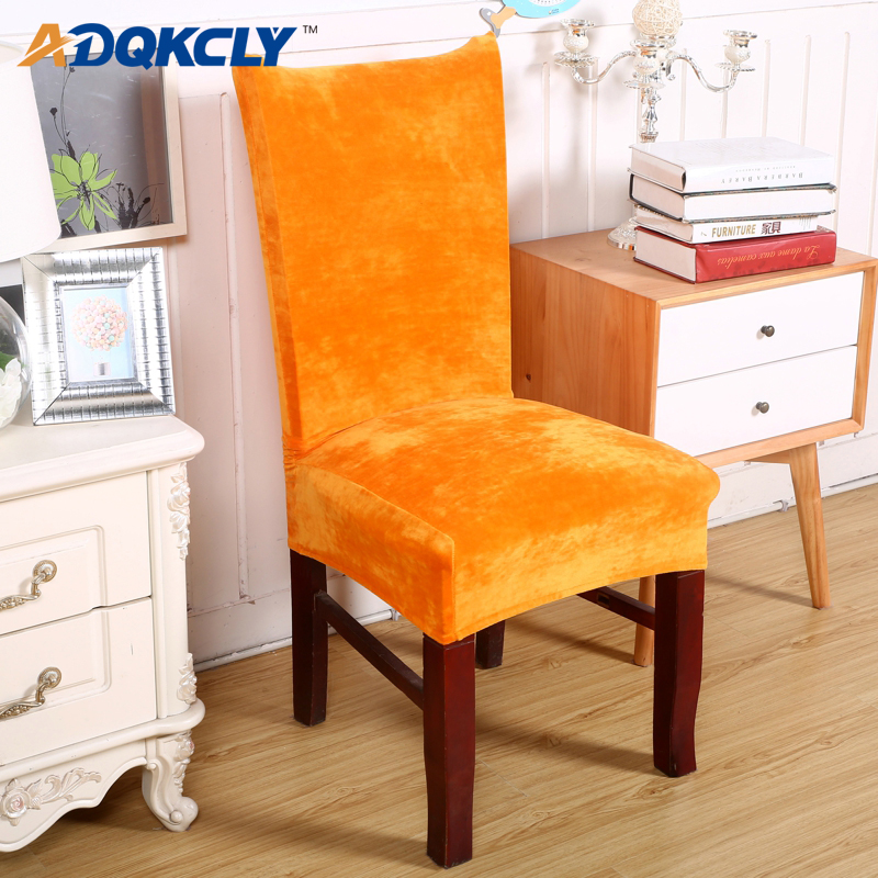 US $7.15 35% OFF|ADQKCLY Orange Velvet Dining Room Chair Cover Removable  Spandex Elasticity Cover for Chair for Hotel Banquet Chair Slipcover 1PC-in  ...