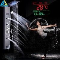 Черный душ колонка Душ Панель кран цифровой Температура Экран Ванна Системы светодиодный свет Rotable Spa Массаж распылителя