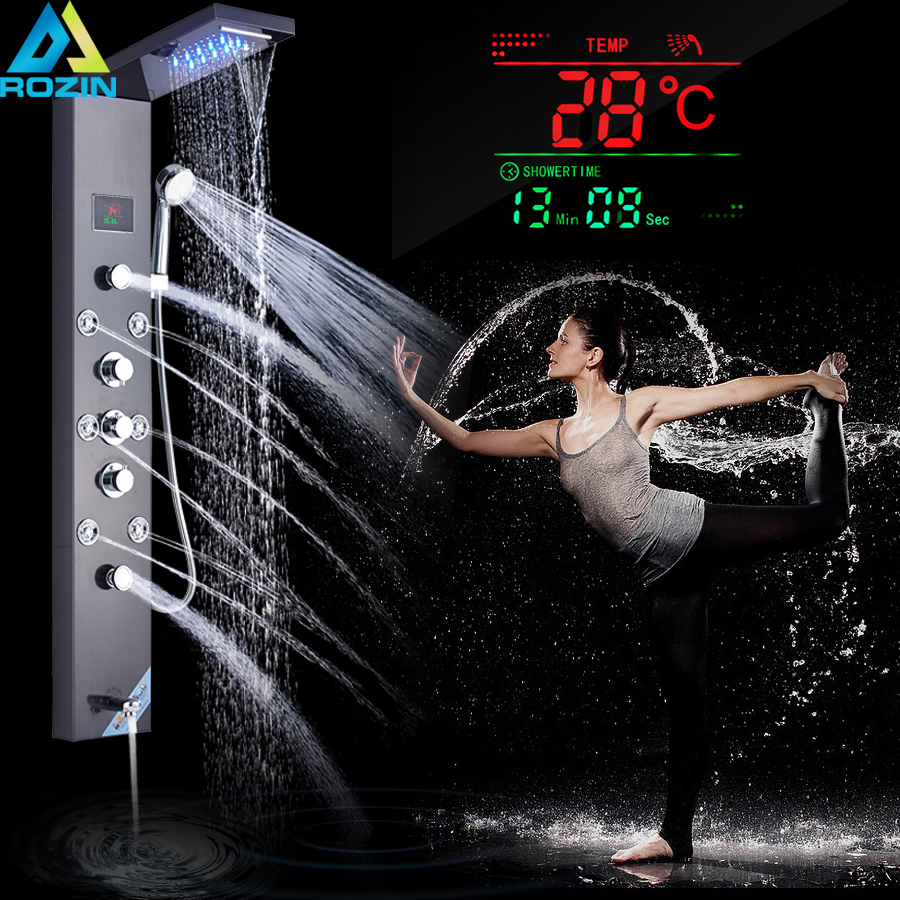 Black Shower Column Shower Panel Faucet Digital Temperature Screen Bath Shower System LED Light Rotable Spa Massage Sprayer