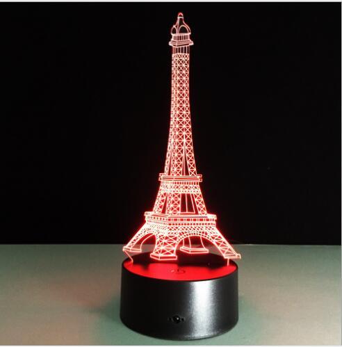 Creative 3d Illusion Lamp Led Night Light 3d Eiffel Tower Acrylic
