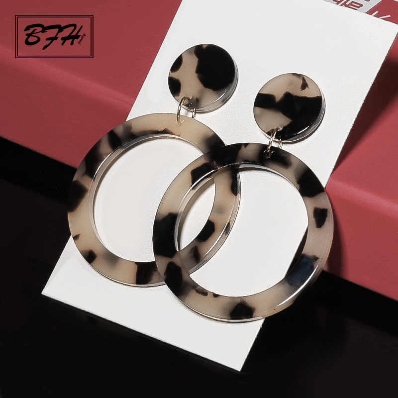 BFH Fashion Korean Statement Gold Long Leopard Print Acrylic Round Drop Earrings for Women Geometric Dangles Earring Jewelry