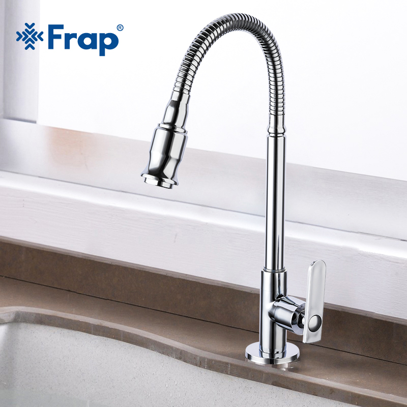Frap Brass Kitchen Mixer Single Cold Water Faucet Flexible Single Lever Hole Water Tap Kitchen Faucet torneira cozinha Y40526 in Kitchen Faucets from Home Improvement
