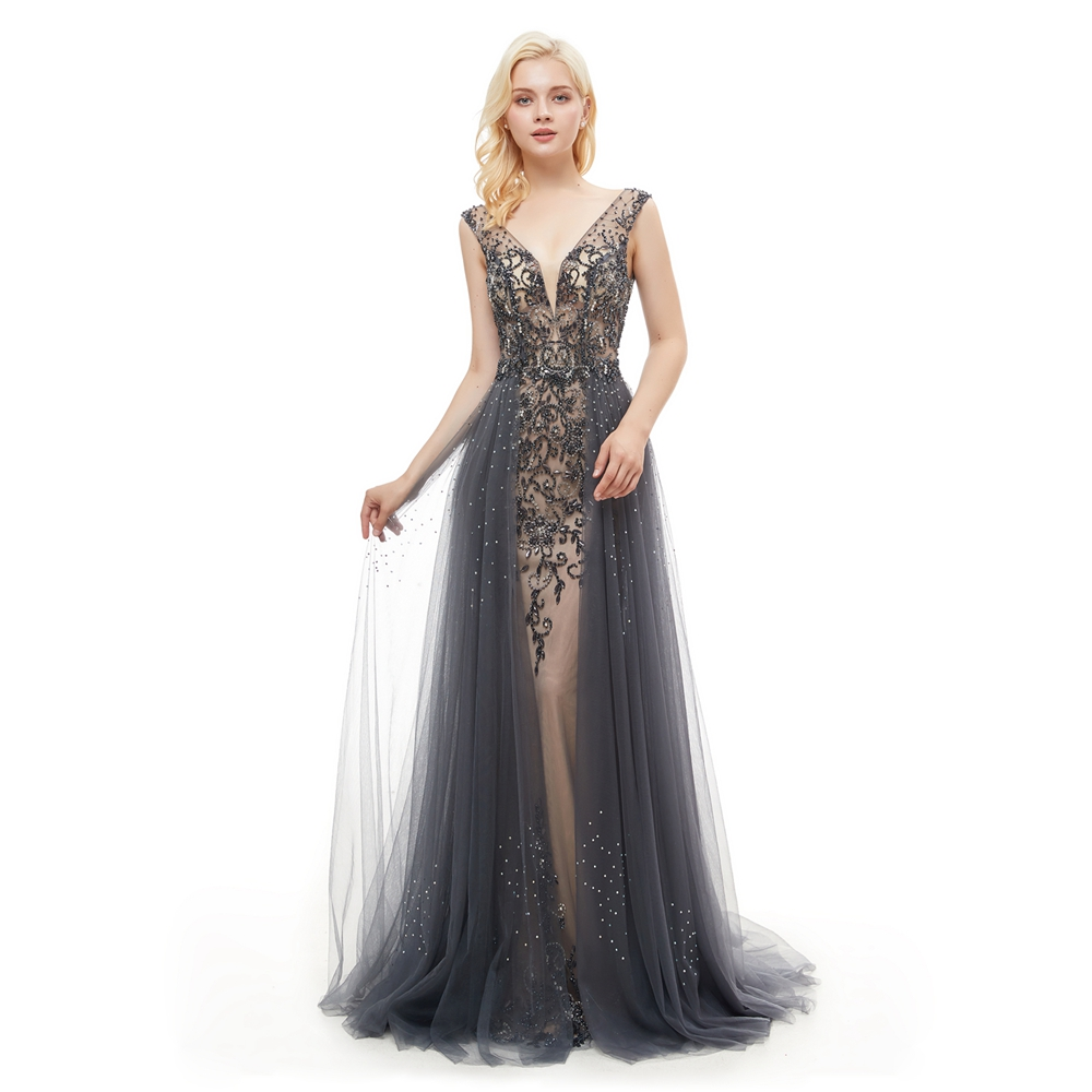 Elegant Prom Dresses Women Ball Evening Gowns Party Marriage Gray Tulle Beading Crystal Mermaid Long Sweep Train V neck Backless