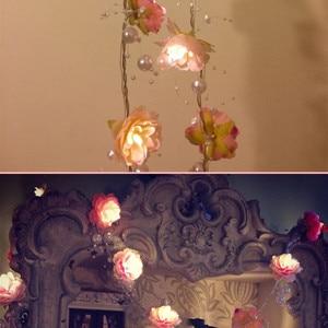 Image 4 - 2M 20led Wedding fairy lights Pearl flower decoration led garden string lights for holiday chrismas festival home lighting decor