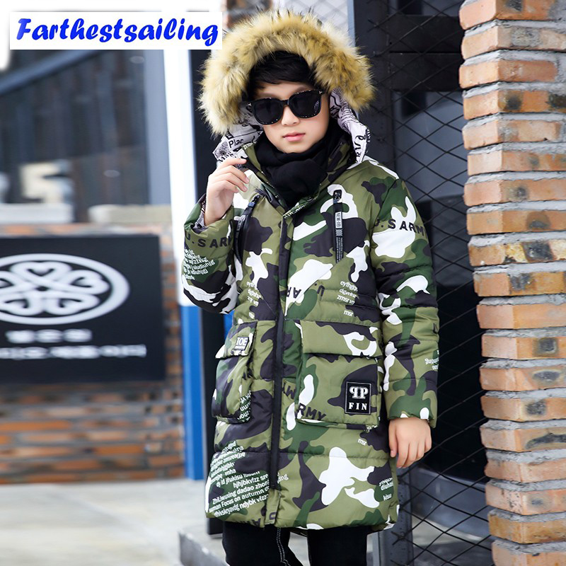 Children Winter Jackets For Boys 2017 Camouflage Long Thick Coat Kids Winter Jackets Parkas Outerwear Fur Collar Boys Clothes teenage girls winter jackets children warming long camouflage coat outwears cotton padded hoode thick camouflage coat y846
