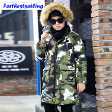 Children Winter Jackets For Boys 2017 Camouflage Long Thick Coat Kids Winter Jackets Parkas Outerwear Fur Collar Boys Clothes