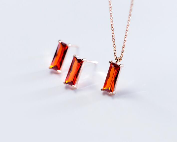Authentic 100% REAL. 925 Sterling Silver FINE Jewelry Red Garnet Rectangle Geometric Necklace pendant earrings Set GTLx1701